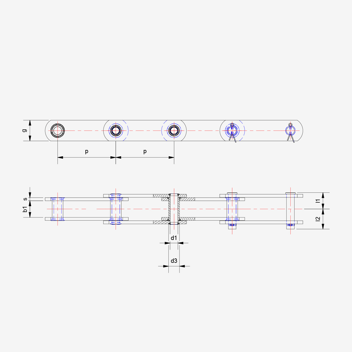 DIN 8167 A style - drawing - welded chain