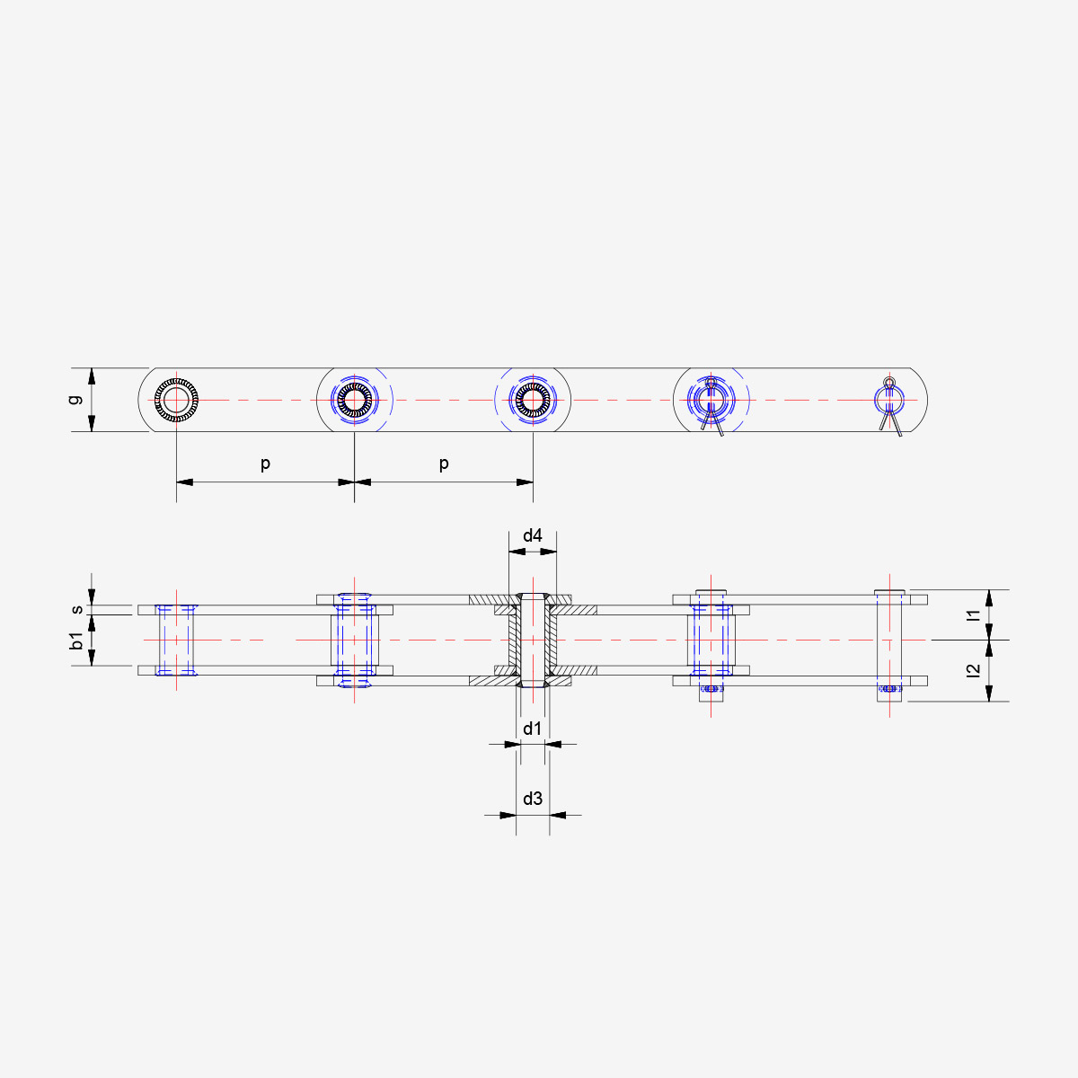 DIN 8167 B style - drawing - welded chain